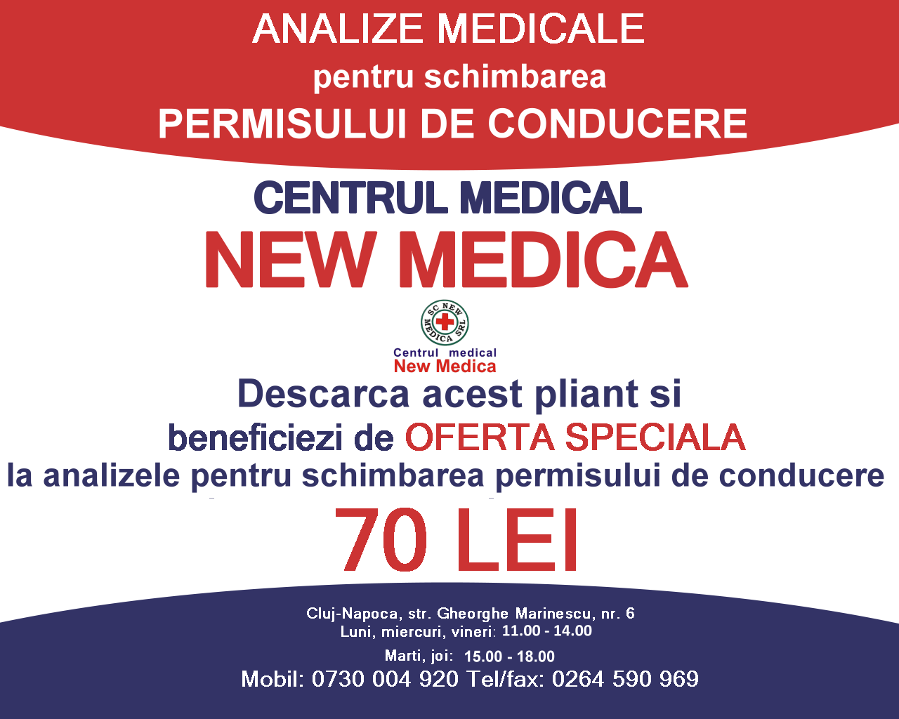 Centrul medical NEW MEDICA Cluj-Napoca – Analize medicale si Servicii medicale complete